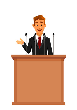 spokesman: Cartoon businessman or politician in suit at tribune with microphones making a speech. Orator or narrator, spokesman or leader at debates or presentation for audience. Business meeting or conference theme