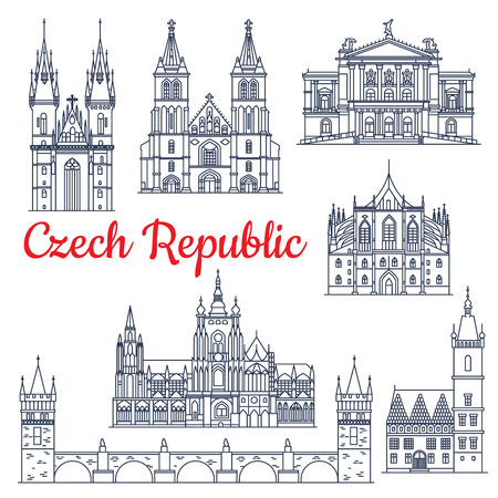 town hall: Czech republic thin line travel historical landmarks. Charles bridge on Vltava and Church of mother of God or our Lady before Tyn, metropolitan cathedral of Saints Vitus, Wenceslaus and Adalbert, Prague State Opera, St. Barbaras Church,Town Hall