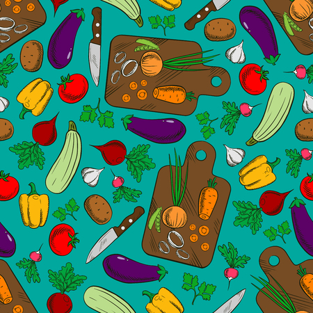 Vegetable salad preparation or production seamless pattern with potato and pepper, radish and tomato, carrot and onion, squash and peas, eggplant, knife and cutting board isolated on cyan or blue. Illustration