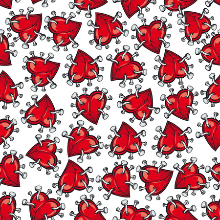 heartbreak: Pinned or nailed cartoon red heart seamless pattern isolated on white. Concept of relationships break or divorce, broken love or passion, heartbreak or heartache, emotion discomfort and sadness or sorrow.