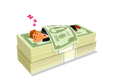 financial freedom: Cartoon businessman in suit sleeping or napping on pack or pile of cash or money. Concept of successful stock investment or passive income, rich and wealth, financial freedom.