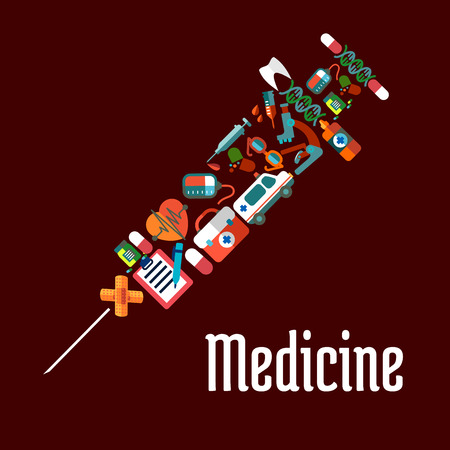 sphygmomanometer: Healthcare or medicine icons in syringe shaped form with needle for injection. Tablet and pill, heart and pulse, tooth, and sphygmomanometer, stethoscope and ambulance, thermometer and flask