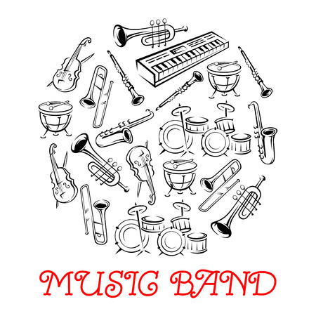 Sketched sound instruments or equipment for musical band. Synthesizer and violin with bow or fiddlestick, trap set or drum kit, saxophone and trumpet.  Woodwind, string, brass, percussion used in jazz, rock, pop, disco. Иллюстрация