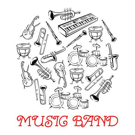 Skizziert Klanginstrumente oder Anlagen für Musikband. Synthesizer und Violine mit Bogen oder fiddlestick, Trap-Set oder Schlagzeug, Saxophon und Trompete. Holzbläser, Schnur, Blechbläser, Schlagzeug verwendet in Jazz, Rock, Pop, Disco. Standard-Bild - 59602342