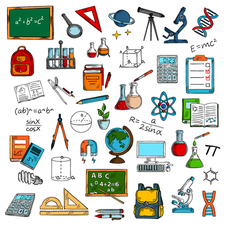studying computer: Sketches of school or university, college science equipment for studying or learning, education. Blackboard and magnifying glass, ruler and telescope, microscope and bag, flask and tube, pencil and atom, computer and molecule, backpack and textbook Illustration