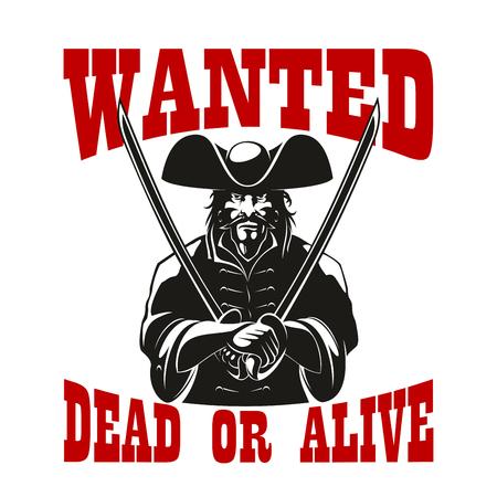 Récompense ou prime pour pirate ou voleur criminel ou corsair avec l'épée ou le sabre, le chapeau et la barbe voulaient mort ou vivant Vecteurs