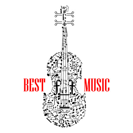 key signature: treble and Bass clefs and notes in scattered random form united in shape of violin or fiddle with letters Best music Illustration
