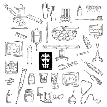 equipment: Sketch of medicine or healthcare icons for hospital or clinic equipment. Syringe and stethoscope, medical scissors and pliers, pipette or dropper and ointment, radiograph and cardiogram, sphygmomanometer and crutch, ultrasound and toothbrush. Illustration