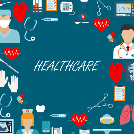 ventilator: Healthcare icons for operating or emergency, surgery room in hospital or clinic. Doctor or physician, medical or nurse in masks, pills or tablets, skeleton and lungs, heart and heartbeat, sphygmomanometer and thermometer, stethoscope and flasks Illustration