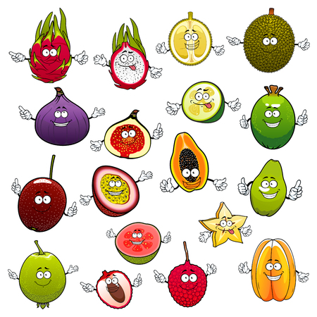 mellow: Tropical cartoon fruits with smiling and happy faces and raised hands. Exotic feijoa and fresh fig, raw pitaya and ripe pitahaya, mellow papaya and mature carambola, luscious guava and succulent kiwi