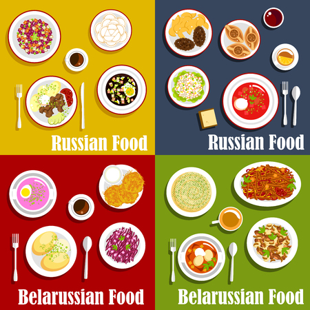 borscht: Russian and belarusian traditional national cuisine. Draniki and baked potato with onion, vereshchaka or machanka and kholodnik, okroshka and casserole, salad with red cabbage and babka, borscht and olivier, vinegret or vinaigrette dishes. Kvass