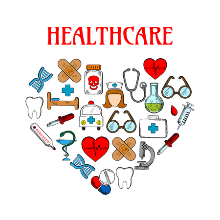 adhesive plaster: Medical and healthcare equipment icons in form of heart. Nurse or medic, sticking plaster or adhesive bandage, tooth and thermometer, pill or tablet as capsule, stethoscope and first aid kit, ambulance and dropper, snake around cup and DNA. Illustration