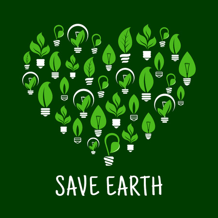 ecological environment: Lightbulbs like leafs in screw in shape of heart. Idea of saving nature and ecological environment, care about energy consumption. Illustration
