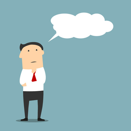considering: Cartoon businessman or manager thinking with cloud or bubble. Serious face expression while concluding or guessing something, considering or deeming thought Illustration