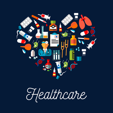 Drugs: Healthcare equipment icons shaped as heart. Doctor or medic with stethoscope, dropper or pipette dropping blood, DNA and crutch or spike, tablet or pill, salve and enema or clyster. Illustration