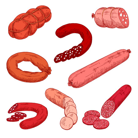 veal sausage: Sausage meat products like wurst or kielbasa. Food made of beef, pork or veal and starch that is grilled or baked. Concept of nutrition with Polish or Frankfurter sausage