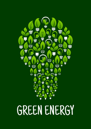 ecological environment: Lightbulb formed from lamps with leafs in screw. Idea of green energy and ecological environment, saving nature.
