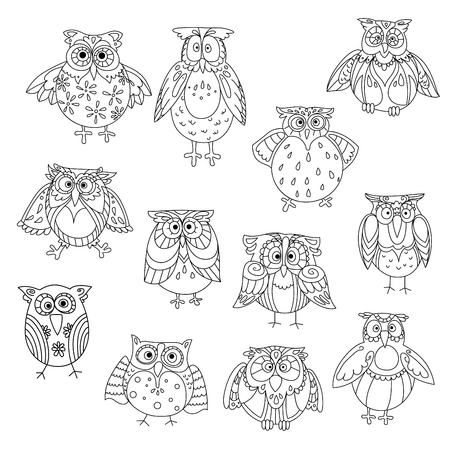 wondering: Funny owl silhouettes outline with different feathering pattern on head and wings. Wise birds with amazed or shocked, stunned or astound, cute or wondering look
