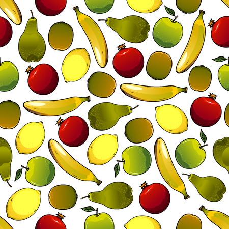 fruitful: Fruits seamless pattern isolated on white with mature banana and nice looking pear, juicy apple  and ripe lemon, raw garnet or pomegranate. Ingredients for vegetarian salad or meal