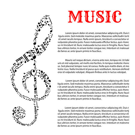 tenor: Music and sound infographic template with treble clef that is made of different musical notes in science or helmholtz notation on left side.