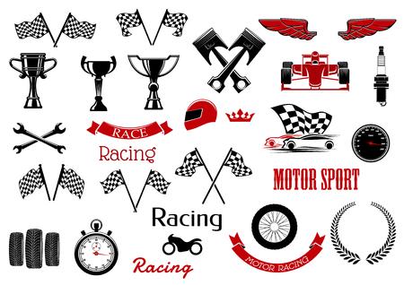 Design-Elemente oder von isolierten Symbole für Motorsport und Rennsport. Standard-Bild - 59602390