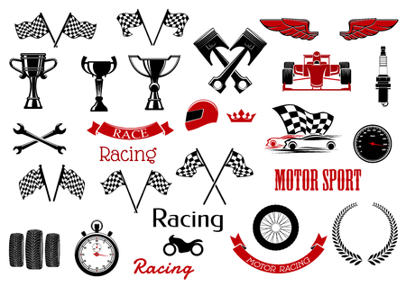 motosport: Design elements or set of isolated icons for motosport and racing.