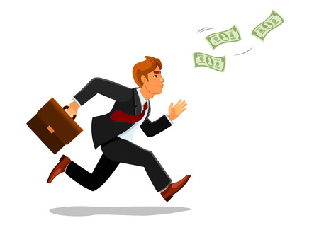 smirk: Cartoon businessman with suitcase or bag chasing or running for money banknotes or bill, greenback. Illustration