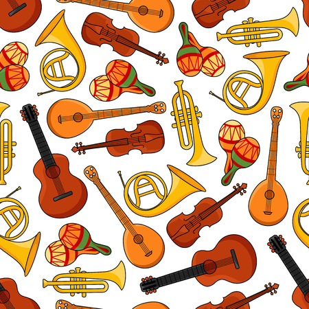 shakers: Sound equipment or music instruments seamless pattern with banjo and trumpet, saxophone and guitar, maracas or rumba shakers isolated on white