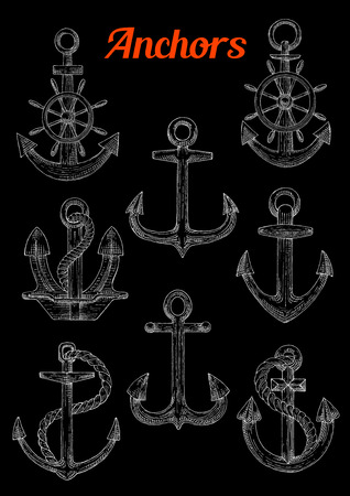 moor: Sketch of stockless, admiralty or fisherman anchors with twined rope and steering ship s or boat s wheel. Can be used as naval or nautical symbol, maritime mascot marine sport design