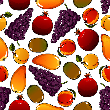 mature: Vegetarian fruits seamless pattern isolated on white with mature pear and ripe garnet or pomegranate, juicy apricot and tasty kiwi, bunch or cluster of grape. Ingredients for vegetarian salad or meal. Can be used for agricultural or dessert theme Illustration