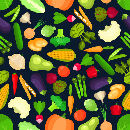 cucumber salad: Organic  and vegetarian vegetables seamless pattern isolated on white with healthy cabbage and mature onion, mature peas and tasty carrot, raw corn and asparagus, garden pumpkin and squash, zucchini and cucumber.  Ingredients for vegetarian salad