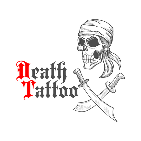 marauder: Pirate skull wearing bandana or bandanna sketch with crossed swords or sabers underneath.  Concept of death or horror tattoo that can be used for emblem, mascot.