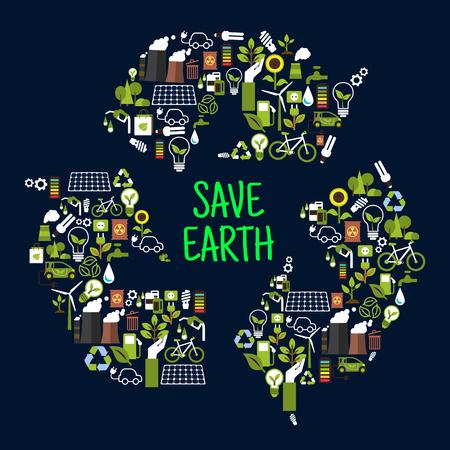 reciclar basura: Guardar iconos de tierra o ecología en forma de señal internacional de reciclaje como flechas persiguiendo. los residuos renovables o de basura, bosque ecológico y el girasol, la bombilla y la energía solar, BEG eco y puede, batería y electromobile cargada tóxicos