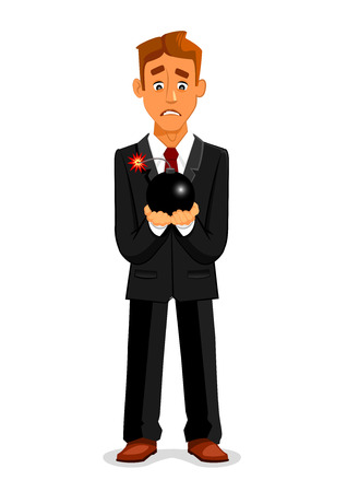 Cartoon businessman or manager in suit and necktie with scared look and fear holding ignited bomb and candle wick with sparks. Concept of deadline or crisis, taking risk or having stress, being in hurry. Illustration