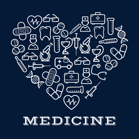doctor tablet: Icons of healthcare or medicine equipment in shape of heart.  Stethoscope or DNA, doctor or medic, pipette or dropper, tablet or pill, first aid kit and ambulance, adhesive bandage or plaster and syringe, glasses and tooth