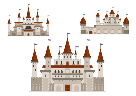 turret: Medieval palaces or royal castles, ancient fort or residential mansion with towers and spires with flags, antique gate. Buildings in cartoon style for history or childish, fairytale books design