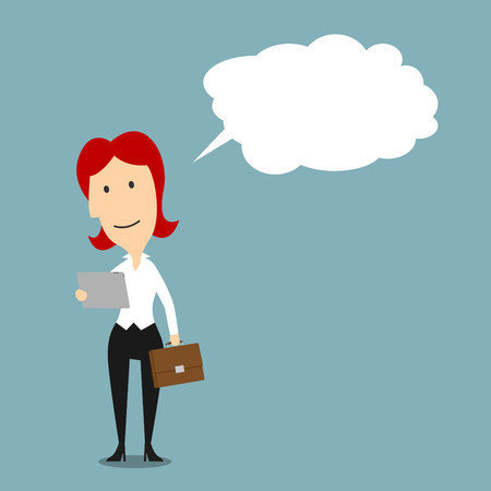 considering: Cartoon businesswoman reading from tablet with bubble or cloud. Lady or female with smiling or happy face expression when concluding or guessing something, considering or deeming thought