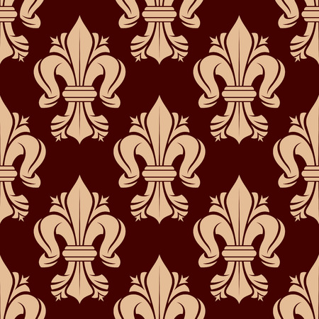 fleurdelis: Beige or golden heraldic lilies fleur-de-lis tracery ornamental elements seamless pattern isolated on red. For textile or royal heraldic themes, design or interior. Illustration