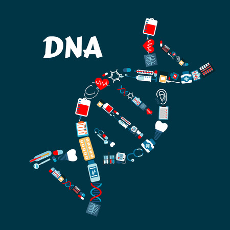 roentgenogram: DNA or deoxyribonucleic acid formed of healthcare or medicine icons. Radiograph or roentgenogram, syringe and heart with pulse or cardiogram, sphygmomanometer and molecule, blood pack and dental implant, thermometer and pill or tablet, stethoscope