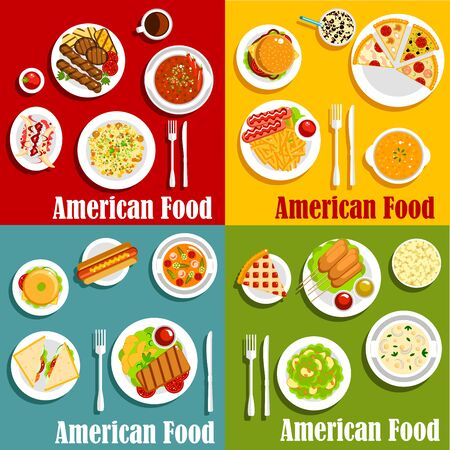 american cuisine: North american or United States traditional national cuisine. Egg benedict and hot dog, hamburger and cheeseburger, sandwich with beef and pork or sirloin steak, sausage with sauce or ketchup and chorizo, vichyssoise soup and stew Illustration