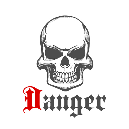 jowl: Sketch of skull with grin or grim smile. Danger and hazard skeleton head design for emblem, mascot or tattoo design. Concept of fear