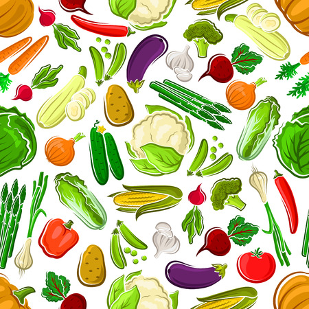 Healthy and raw farm vegetables seamless pattern. Potato and succulent carrot, tasty tomato and bitter radish, orange pumpkin and red bell pepper, pea pod and luscious cucumber, garlic and corn cob, cabbage and broccoli, asparagus, and daikon. Illustration