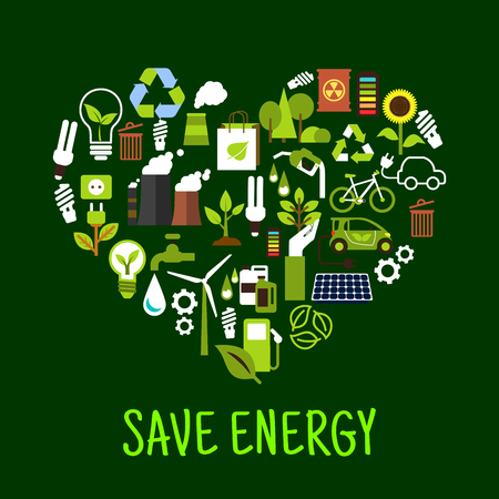 Save energy concept icons in shape of heart. Ecological forest and sunflower and green plant, light bulb and solar energy, eco beg and toxic can, recycle sign made of leaves charged battery. Ilustração