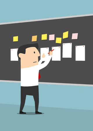 severe: Businessman pinning sheets of paper and stickers on blackboard with concentrated or serious facial expression. Manager making business plan or reaching goal, setting task or posing problem.