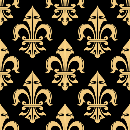 classic classical: Tracery of tan cream fleur-de-lis ornamental elements seamless pattern isolated on black. For royal heraldic themes or textile, interior or design.