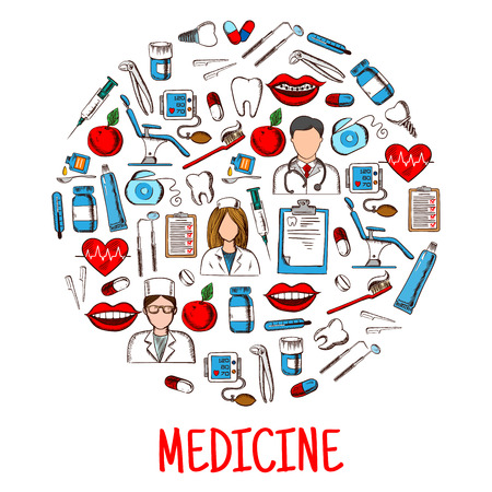 sphygmomanometer: Medicine or healthcare equipment icons in round shape. Nurse and doctor wearing stethoscope, physician and pill, salve and thermometer, dental chair and syringe, mouth with lips and braces on teeth, dental chair and tooth implant, sphygmomanometer.