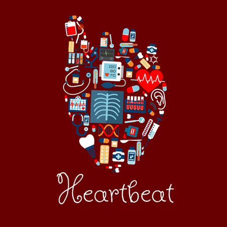 medical cure: Human heart made of medical or healthcare equipments icons. Heartbeat and pulse, cardiogram and tooth implant, DNA and flask or test tube, microscope and syringe, pill or disposable tablet and stethoscope, cure drop on spoon and thermometer