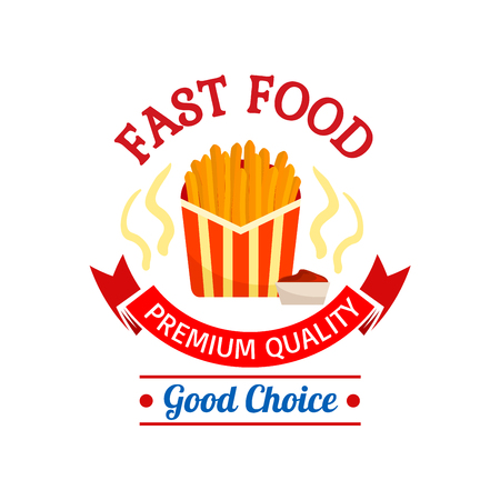 eatery: Fast food icon design. French fries in red striped paper box. Label graphic illustration. Element for restaurant, eatery and menu. Advertising sticker for door sign, poster, leaflet, flyer Illustration