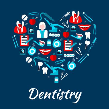 Dentistry banner with icons. Stomatology dental care symbols. Dentist tools and equipment vector elements. Leaflet, advertisement, heart shape illustration Vectores