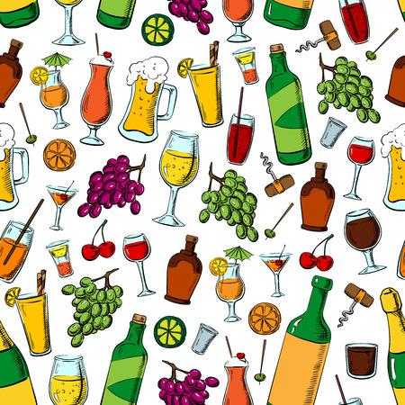 Compleanno bevande partito e frutta. Cocktail, bevande e dessert pattern di sfondo senza soluzione di continuità. cavatappi Vino, boccale di birra, vetro limonata, cocktail, champagne, succo di frutta, calce, uva, olive arancio e ciliegie Vettoriali